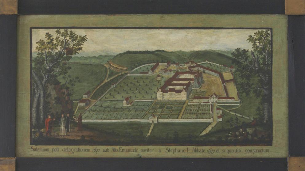 Historische Abbildung der Gesamtanlage des Klosters Salem; Foto: Staatliche Schlösser und Gärten Baden-Württemberg, Günther Beck