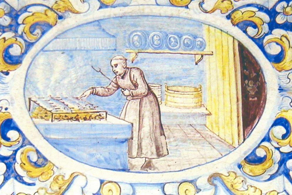 Mönch in der Klosterküche, Ofenkachel vom Ofen im Sommerrefektorium, Kloster Salem; Foto: Staatliche Schlösser und Gärten Baden-Württemberg, Hermann Böhne