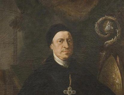 Porträt Abt Anselm Schwab in der Bibliothek von Kloster und Schloss Salem