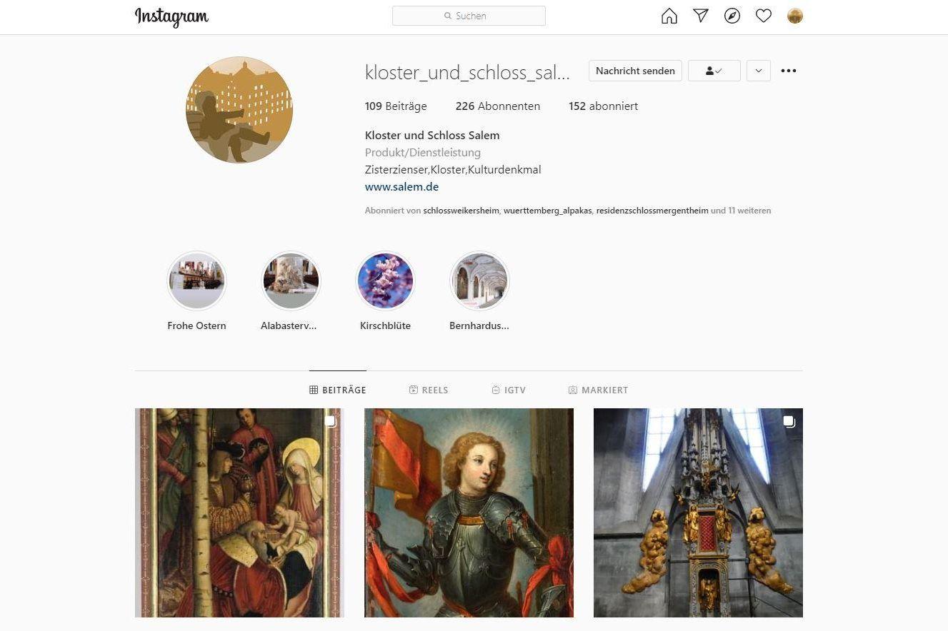Kloster und Schloss Salem, Instagramseite