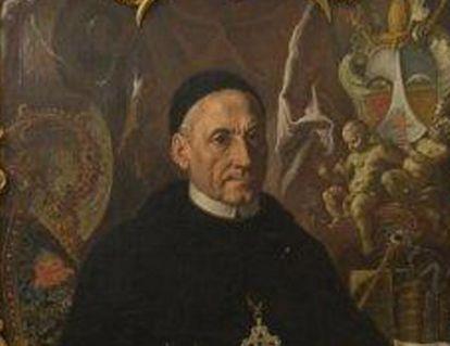 Porträt Abt Konstantin Miller in der Bibliothek von Kloster und Schloss Salem;  Foto: Staatliche Schlösser und Gärten Baden-Württemberg, Urheber unbekannt