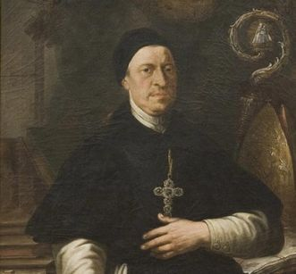 Porträt Abt Anselm in der Bibliothek von Kloster und Schloss Salem