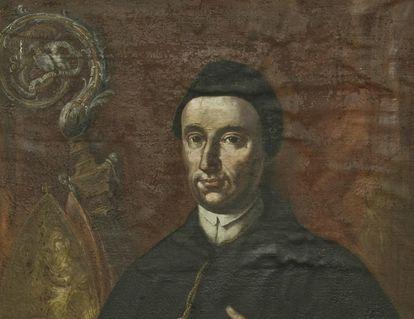 Porträt Abt Robert Schlecht in der Bibliothek von Kloster und Schloss Salem