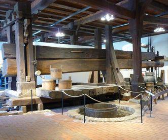 Detailansicht der sogenannten Torkel im Küfereimuseum in Kloster und Schloss Salem; Foto: Staatliche Schlösser und Gärten Baden-Württemberg, Birgit Rückert