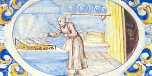 Mönch in der Klosterküche, Ofenkachel vom Ofen im Sommerrefektorium, Kloster Salem