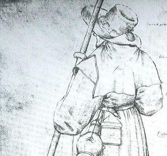 Pilger mit Hut, Stab, Mantel, Trinkflasche und Pilgertasche; Zeichnung von Pieter Brueghel dem Älteren; Foto: Wikipedia, gemeinfrei