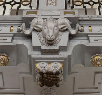 Detailansicht des Bibliothekssaals in Kloster und Schloss Salem; Foto: Dr. Urlich Knapp