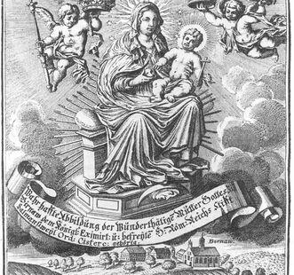"""Darstellung des Gnadenbildes, darunter die Wallfahrtskapelle Alt-Birnau, aus dem """"Apiarium Salemitanum"""", 1708; Foto: Wikipedia, gemeinfrei"""