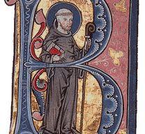 Darstellung des heiligen Bernhards als Initiale B, circa 1267-1276, Legenda Aurea (Keble MS 49, fol 162r); Foto: Wikipedia gemeinfrei