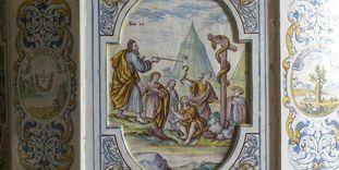 Detailansicht des Ofens im Sommerrefektorium von Kloster und Schloss Salem